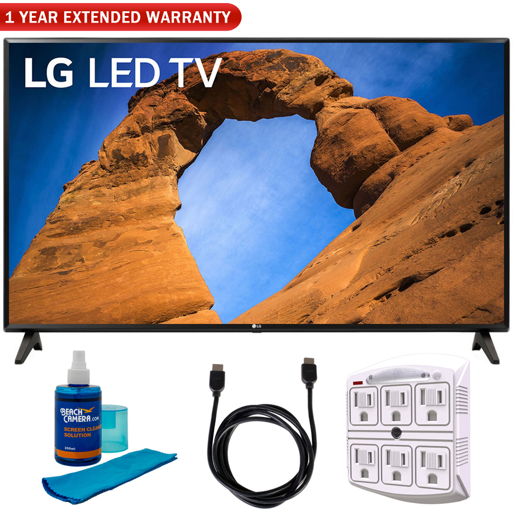 "LG 49LK5700PUA 49""-Class HDR Smart LED Full HD 1080p TV (2018) + 6ft HDMI Cable + Screen Cleaner (Large Bottle) + SurgePro 6-Outlet Surge Adapter w/ Night Light"