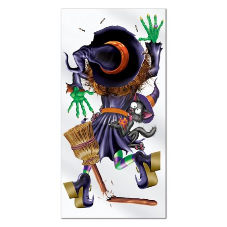 Club Pack of 12 Halloween Themed Crashing Witch Door Cover Party Decorations 5'
