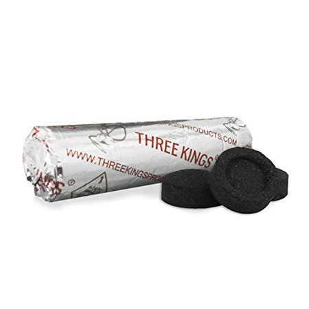 THREE KINGS 40MM CHARCOAL ROLL: SUPPLIES FOR HOOKAHS – 10pc roll of Quick-light shisha coals for hookah pipes. These Easy Lite coal accessories & parts are instant lighting when using (Best Zebra Hookah Charcoals)