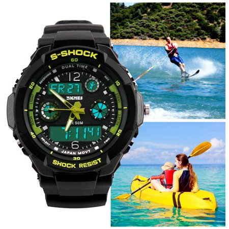 Mens Fashion Waterpoof Analogue Military Digital LCD Alarm Date Army Rubber Sport Watch Wristwatch