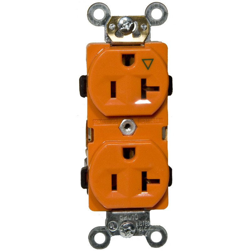 Morris Products 20A Isolated Ground Duplex Receptacle in Orange