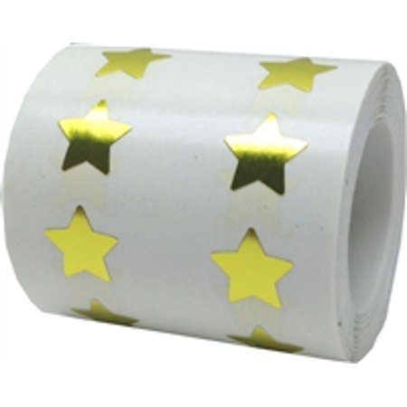 Purple Flowers Sticker - Metallic Gold Star Stickers, 1/2 Inch Wide, 1000 Labels on a Roll