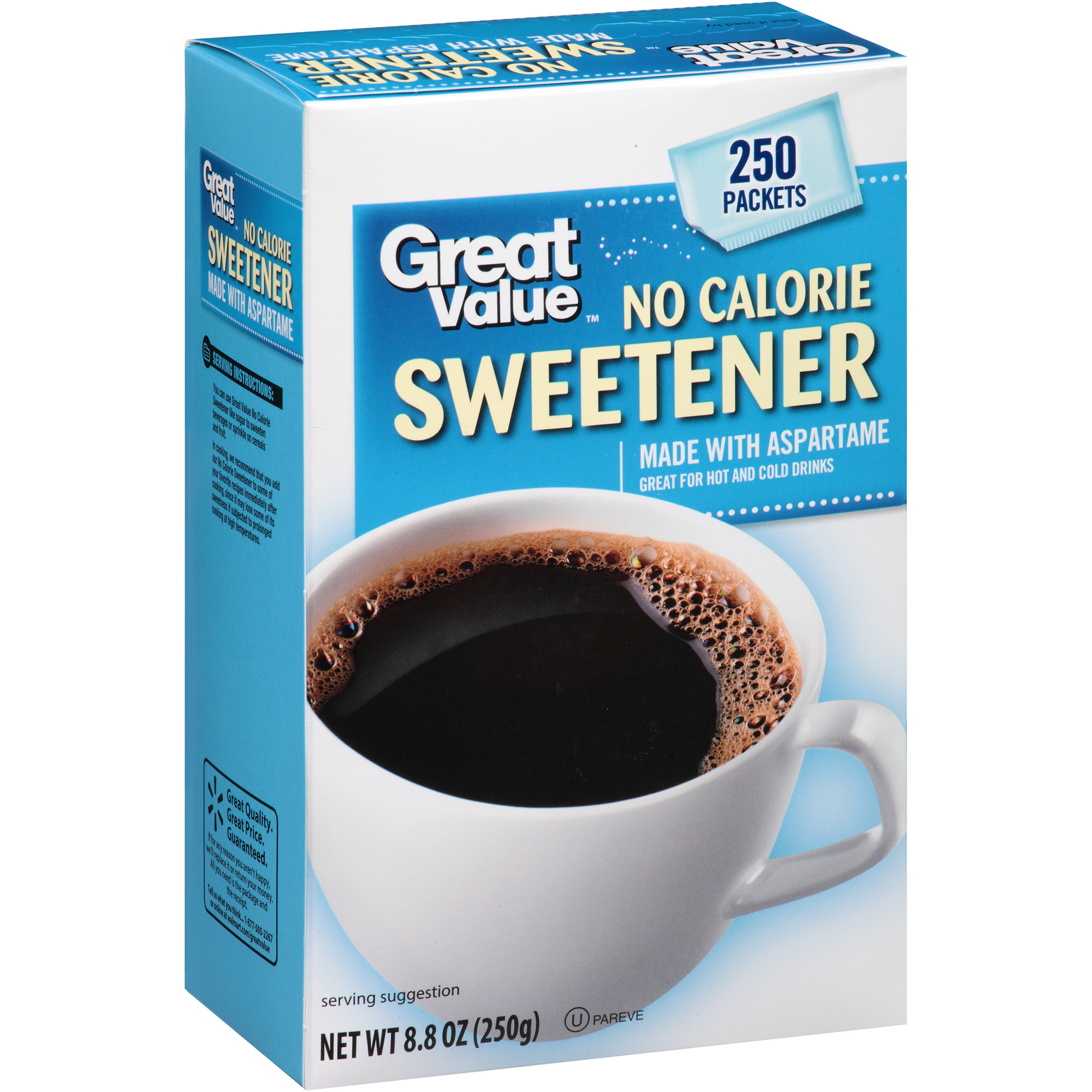 Great Value No Calorie Sweetener, 250 count, 8.8 oz