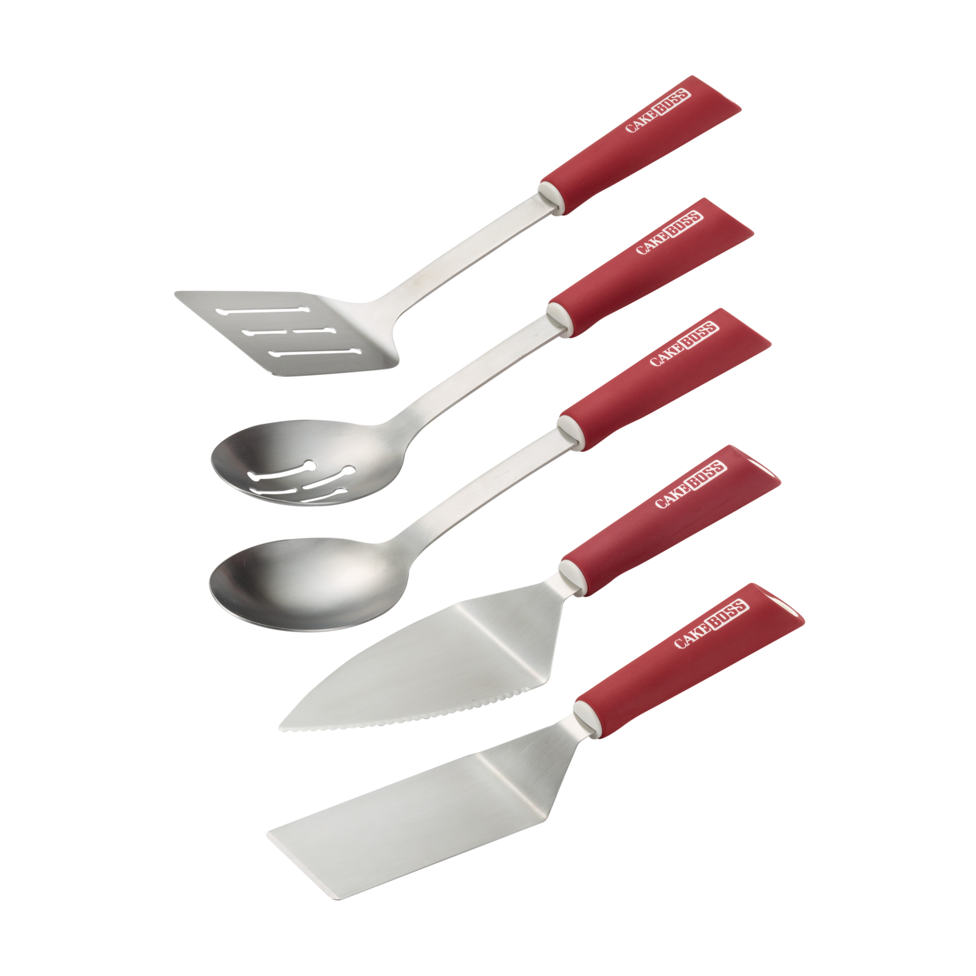 Cake Boss Stainless Steel Tools and Gadgets 5-Piece Kitchen Prep Tool Set, Red