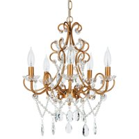 Amalfi Décor 5 Light Classic Crystal Plug-In Chandelier (Gold)   Wrought Iron Frame with Glass Crystals