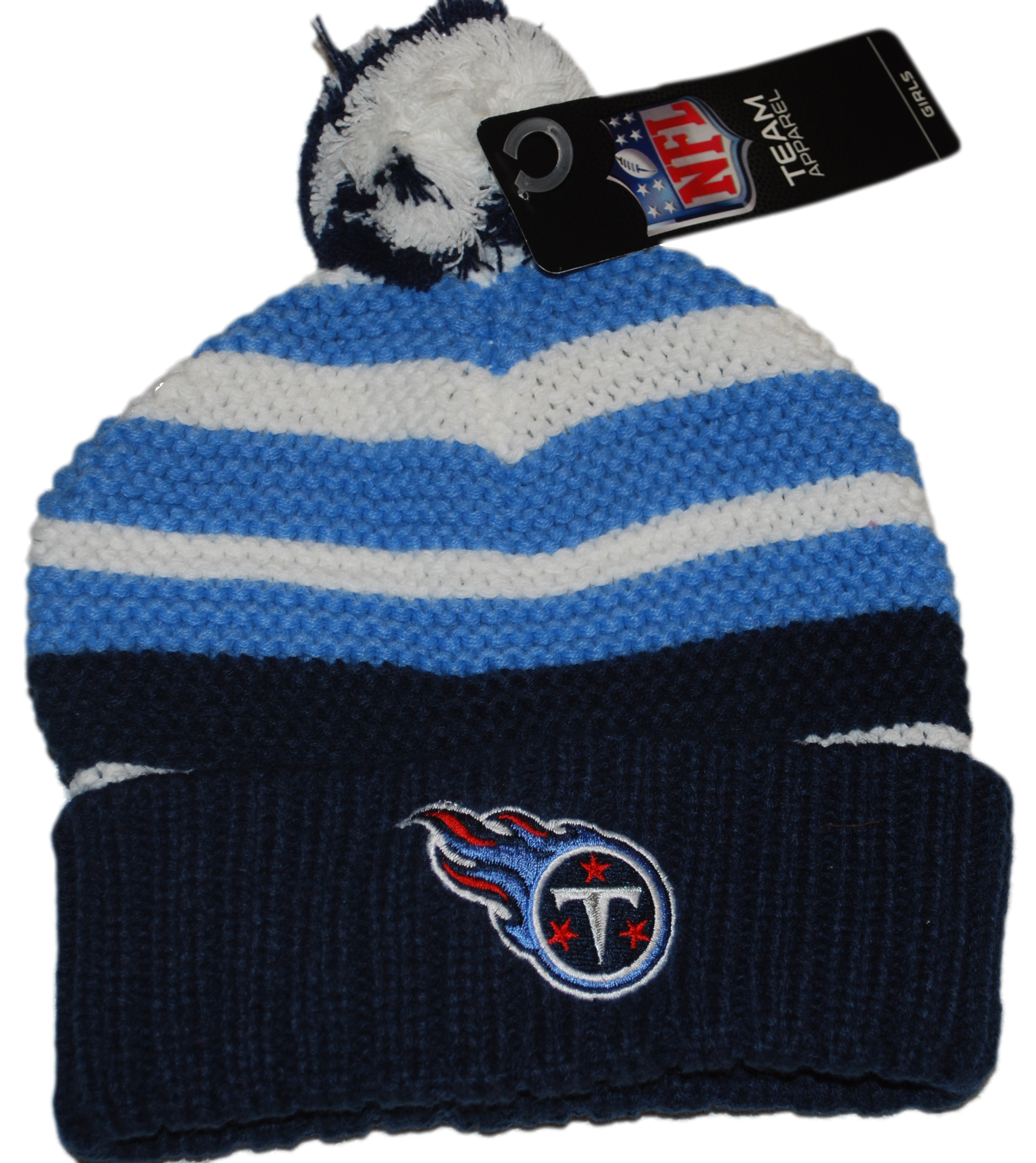 Tennessee Titans NFL Team Apparel Girl's Navy White Knitted Poofball Beanie Cap