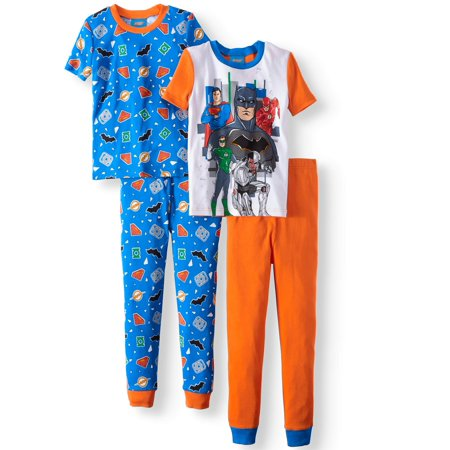 (Graphic Short Sleeve and Pant 4 Piece Pajama Set (Little Boys & Big Boys))
