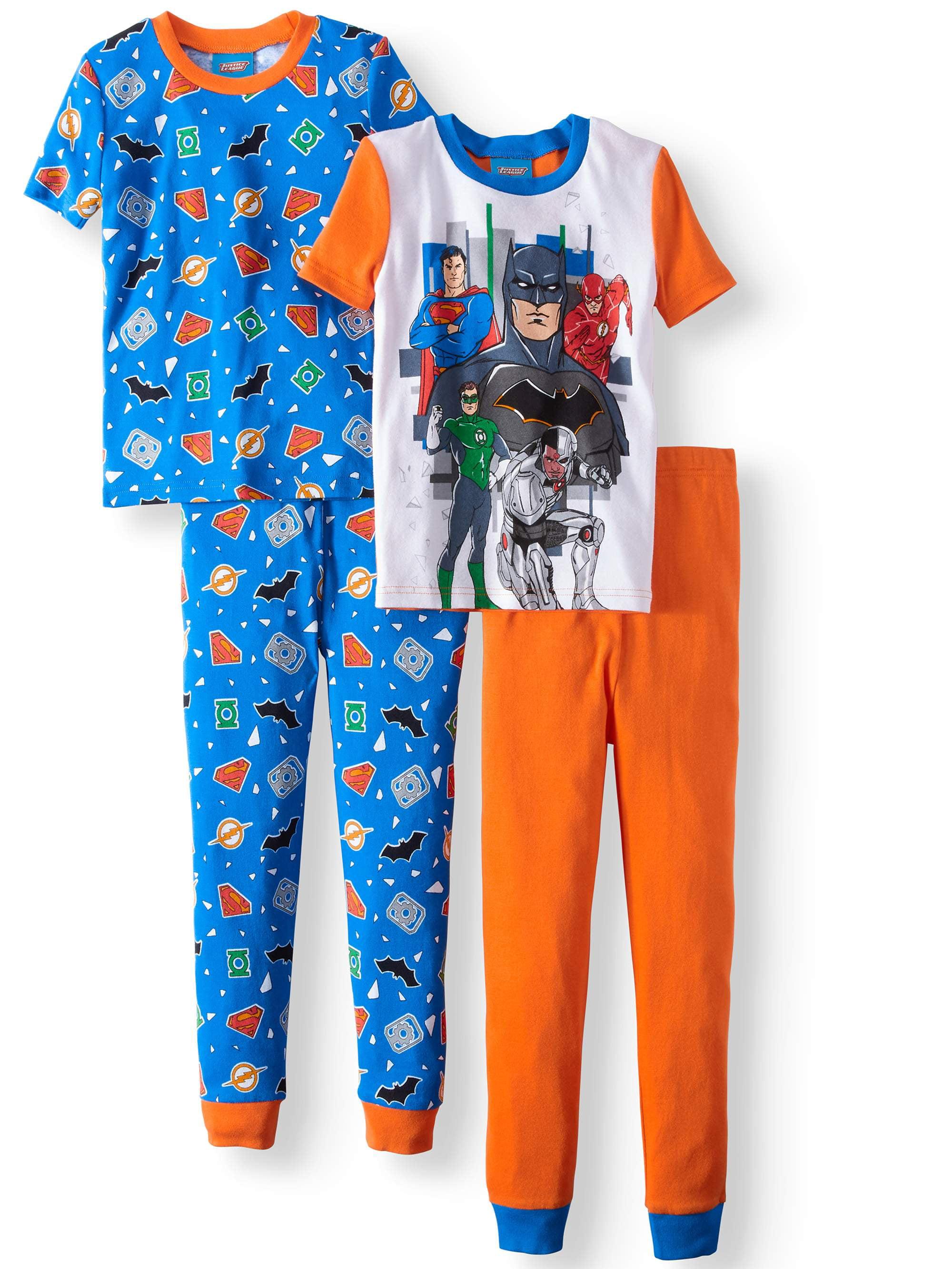 Graphic Short Sleeve and Pant 4 Piece Pajama Set (Little Boys & Big Boys)