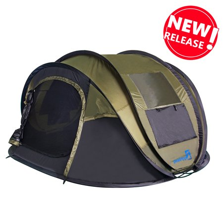 Peaktop 2019 New 4 Person Automatic Pop up Camping Tent, Waterproof Lightweight Dome Tent - with Vents, Mesh Doors and Windows - for Camping,Hiking, Backpack and Beach Green ()