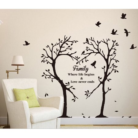 Outgeek 2Pcs Quotes Family Love Wall Sticker Wall Decal Sticker Letter Sticker for Living Room Bedroom Home