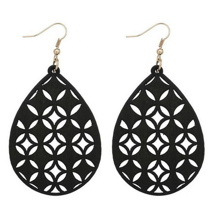 Women Lightweight Bohemian Wooden Teardrop Cut-Out Dangle Earrings (Black)
