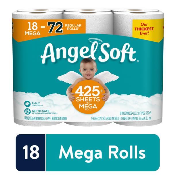 Angel Soft Toilet Paper 18 Mega Rolls 72 Regular Rolls Walmart Com Walmart Com