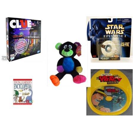 Children's Gift Bundle [5 Piece] -  Clue  - Star Wars Episode 1 Trade Federation Battleship #4 Die Cast  - Sugarloaf s Rainbow Black Bear  16