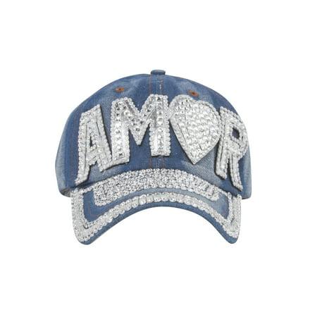 Top Headwear Studded Amor Denim Baseball Cap - image 2 of 2