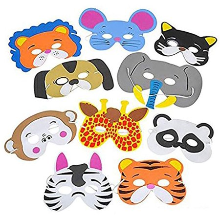 Funny Head Masks (Foam Funny Animal Mask - 12 Pack, For Kids & All Ages, Party, Halloween, Dress-Up, Prop, Costume With Elastic Strap – By)