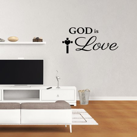 Wall Decal Quote God Is Love Vinyl Sticker Religious Wall Decor Childrens Room Sign PC848