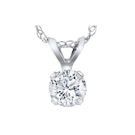 1/5ct Round Diamond Solitaire Pendant 14K White Gold