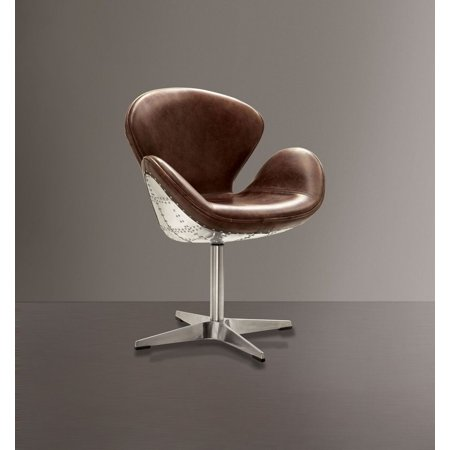 Acme Furniture Brancaster Swivel Arm Chair, Retro Brown Leather & Aluminum