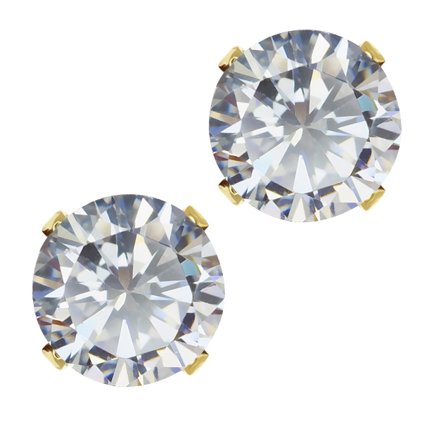 3.50 Ct Ideal-Cut White CZ Round 18K Gold Plated Stud Earrings 6.5MM