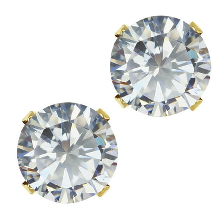 3.50 Ct Ideal-Cut White CZ Round 18K Gold Plated Stud Earrings 6.5MM (1 Ct Cubic Zirconia)