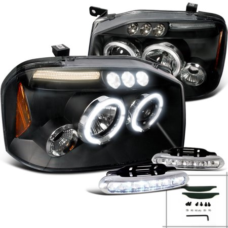 Spec-D Tuning For 2001-2004 Nissan Frontier Halo Black Projector Headlights W/Led Bumper Fog Lamp (Left+Right) 2001 2002 2003 2004