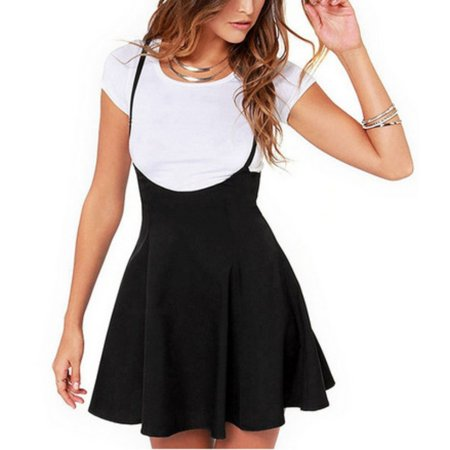 EFINNY Women's High Waist Pleated Mini School Suspender Skirts