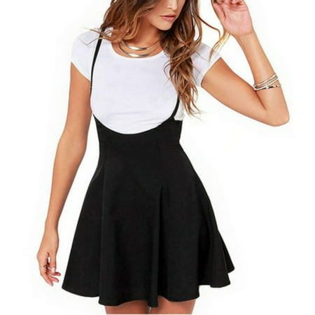 EFINNY Women High Waist Pleated Mini Suspender Skirts