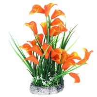 Fish Tank Plastic Plant Morning Glory Accent Water Grass Decor Orange Green 24cm High