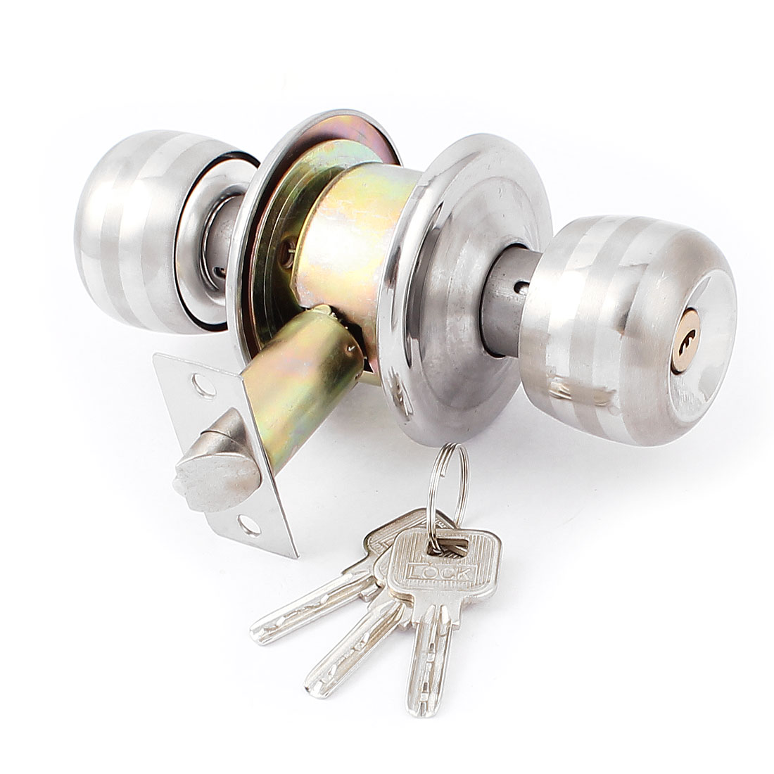 bedroom bathroom round knobs door knob lock locks hardware w keys walmartcom - Bathroom Door Knobs