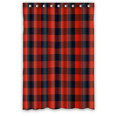 Gingham Shower Curtain (HelloDecor Gingham Check Shower Curtain Polyester Fabric Bathroom Decorative Curtain Size 48x72)