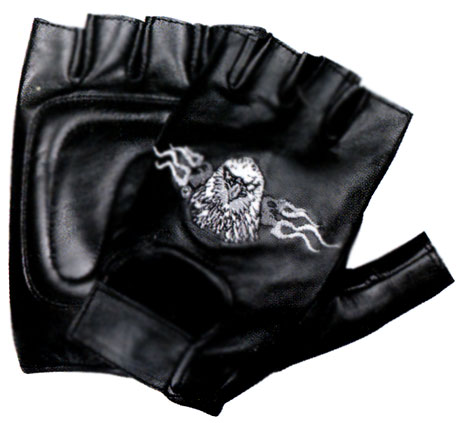 Xelement XG352 Mens Black Flaming Eagle Leather Fingerless Gloves