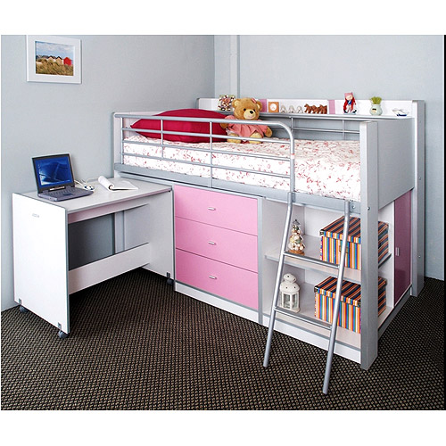 Charleston Storage Loft Bed With Desk, White And Pink Carton 1