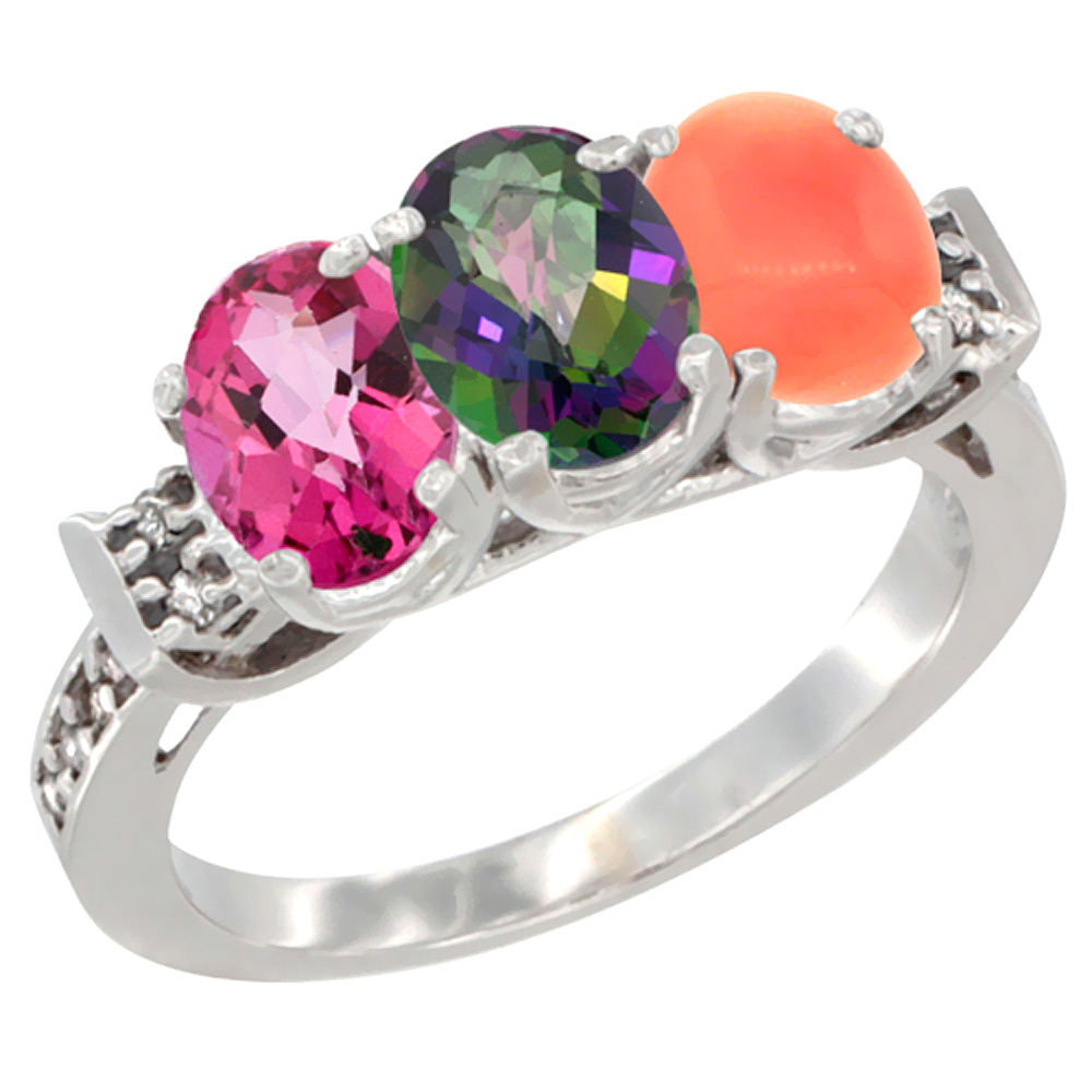 10K White Gold Natural Pink Topaz, Mystic Topaz & Coral Ring 3-Stone Oval 7x5 mm Diamond Accent, sizes 5 10 by WorldJewels