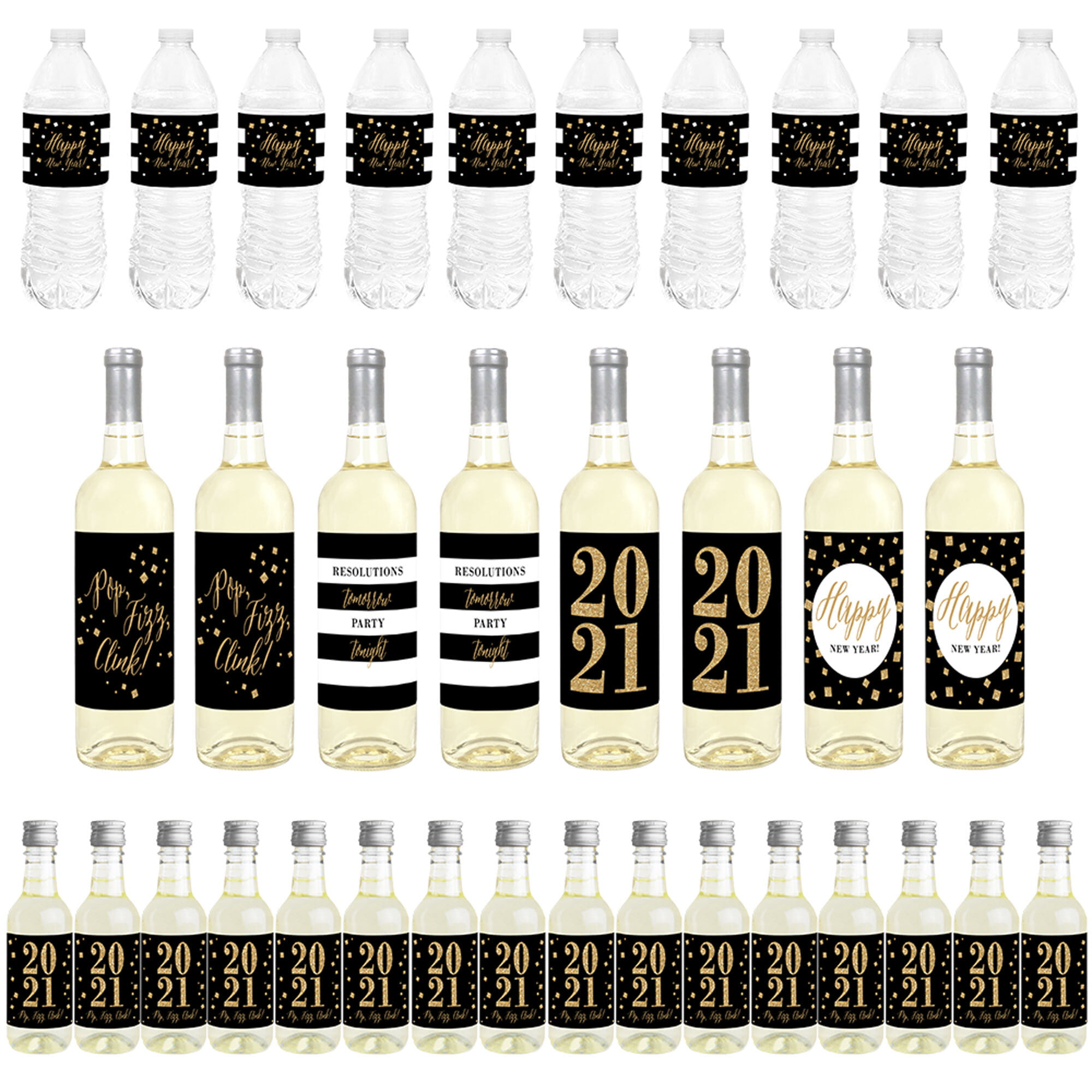 New Year's Eve - Gold - Mini Wine Bottle Labels, Wine Bottle Labels and Water Bottle Labels ...