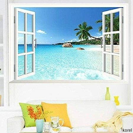 Large Removable Beach Sea 3D Window Decal WALL STICKER Home Decor Exotic Beach View Art Wallpaper Mural - image 2 de 4