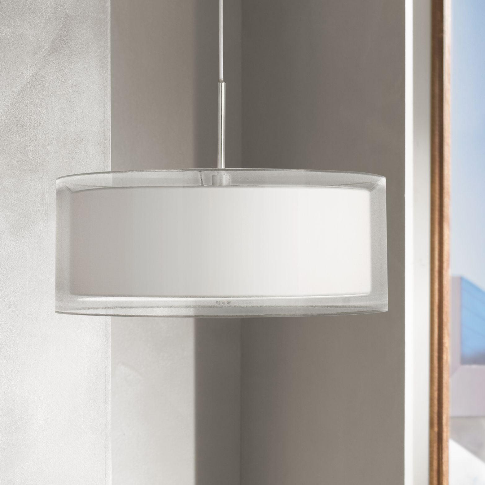 Image of: Possini Euro Design Brushed Nickel Drum Pendant Chandelier 20 Wide Modern Silver Organza White Hardback Shade For Kitchen Island Walmart Com Walmart Com