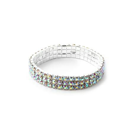 Rhinestone Stretch Bezel Bracelet (Silver Aurora Borealis Square Rhinestones 3 Strand Stretch)