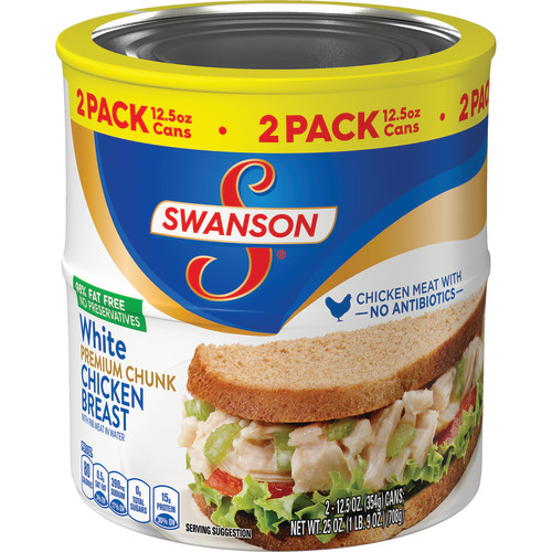 Swanson Premium White Chunk Chicken Breast, 12.5 oz. Can (Pack of 2)