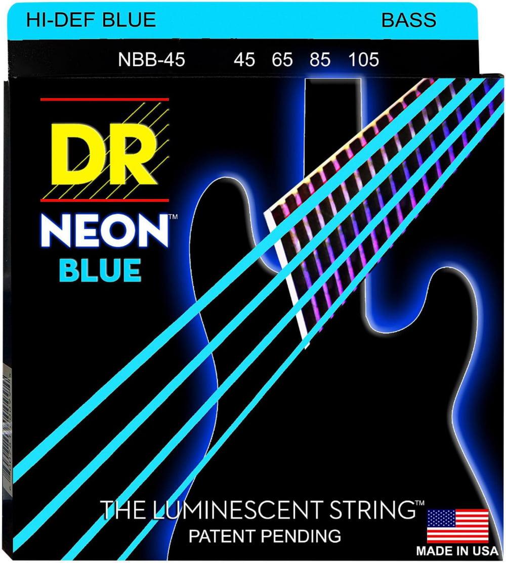 DR Strings Hi-Def NEON Blue Coated Medium 4-String (45-105) Bass Guitar Strings by DR Strings