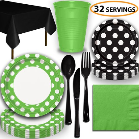 Disposable Tableware, 32 Sets - Lime Green and Midnight Black Dots - Dinner Plates, Dessert Plates, Cups, Lunch Napkins, Cutlery, and Tablecloths:  Party Supplies Set](Halloween Cut And Paste Projects)