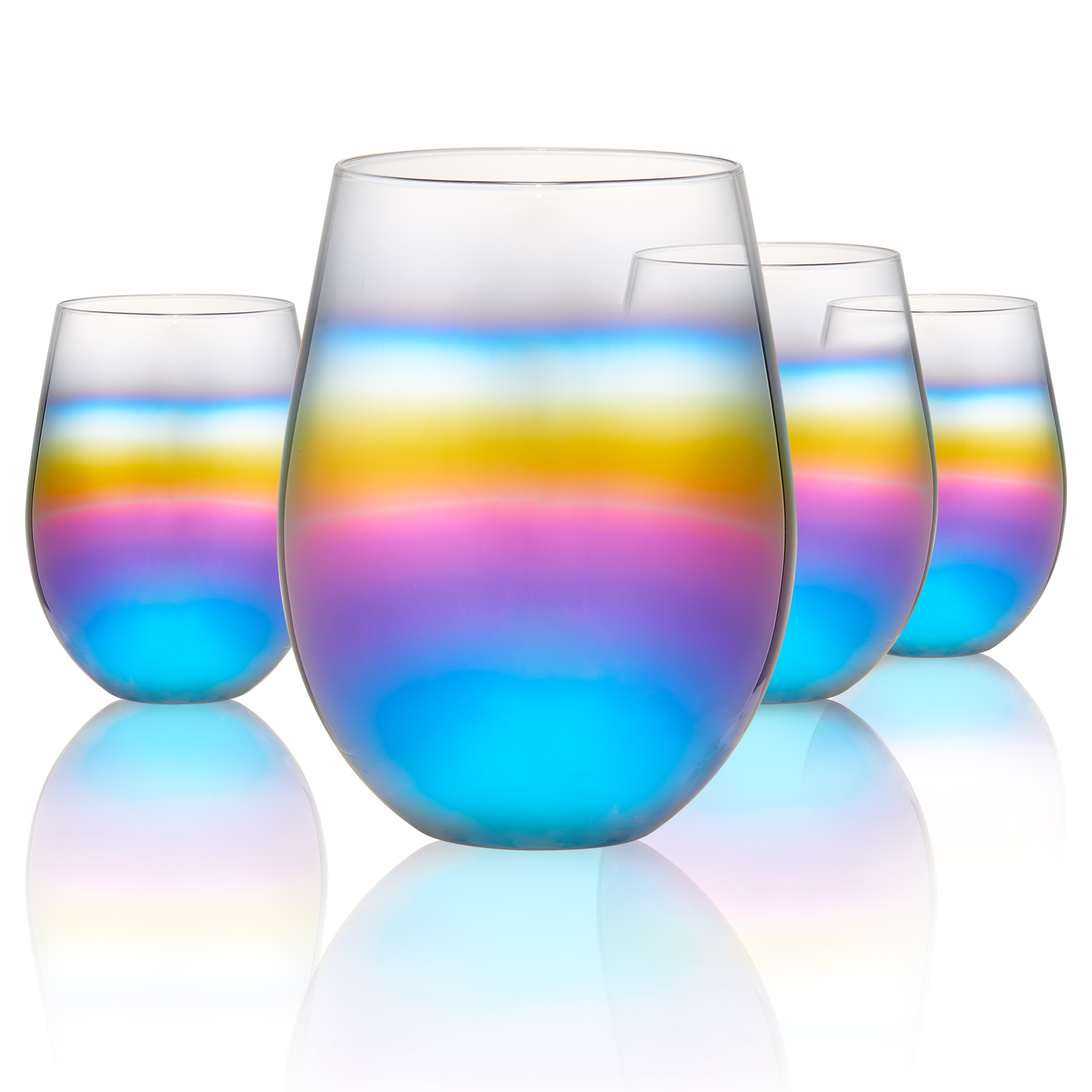 Rainbow Stemless S/4, 18Oz