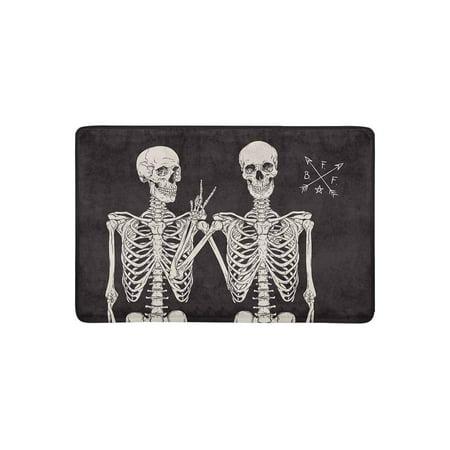 YUSDECOR Funny Human Skeletons Best Friends Posing Doormat Rug Home Decor Floor Mat Bath Mat 23.6x15.7 inch - image 3 de 3