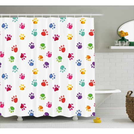 Colorful Shower Curtain Hand Painted Illustration Of Animal Footprints Cute Vibrant Artwork In Watercolors Fabric Bathroom Set With Hooks