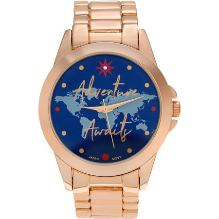Journee Collection Womens Rose Goldtone Round Face Adventure Awaits Map Dial Link Bracelet Fashion Watch