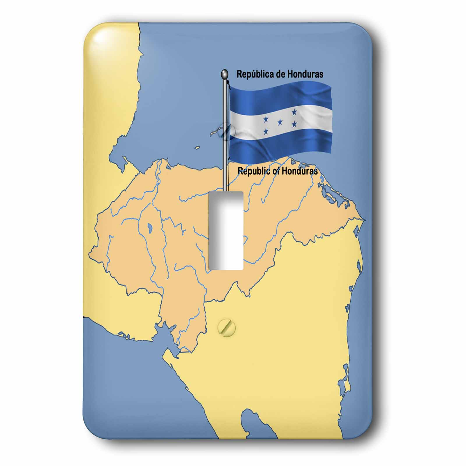 3dRose Flag and Map of Honduras with Republic of Honduras printed in both English and Spanish., Single Toggle Switch