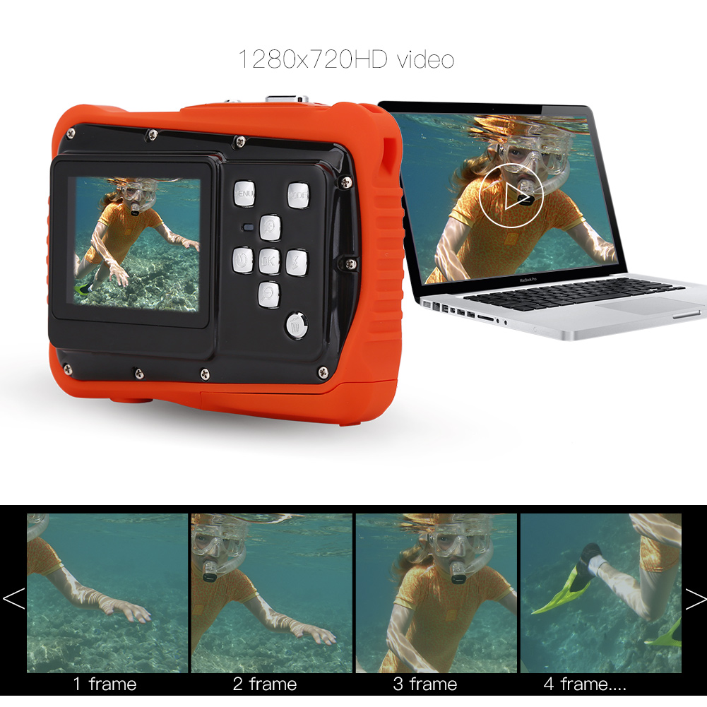Kids Waterproof High Definition Underwater Swimming Digital Camera Camcorder, Kids Camera, Underwater Camcorder