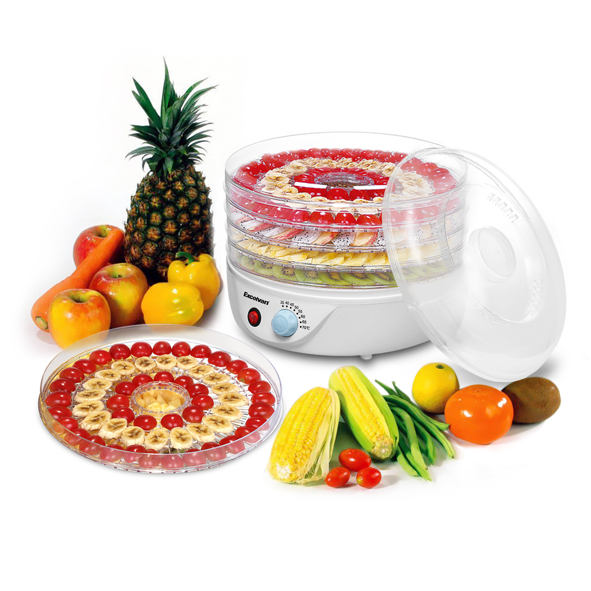 Sancusto 5 Tier 240W Airflow Circulation c Food Fruit Dehydrator Dryer for Meat Fruit Food Jerky Maker