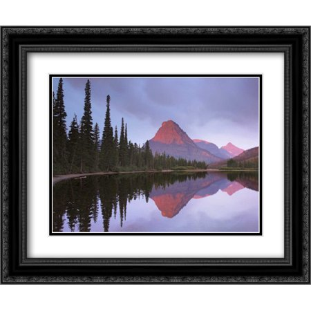 Mount Sinopah reflected in Two Medicine Lake, Glacier National Park, Montana 2x Matted 24x20 Black Ornate Framed Art Print by Fitzharris,