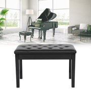 Ccdes Duet Double Concert Piano Bench PU Leather Padded Seat Bench Chair Stool Storage Black, Double Piano Stool, Piano Stool