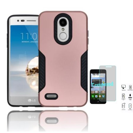 Phone Case for LG Fortune 2, LG Risio 3, LG Zone 4, LG K8 2018, LG Aristo 2 Plus, LG Tribute Dynasty Rubberized Hard Cover Case with Carbon Fiber Design + Tempered Glass Screen Protector (Rose Gold)